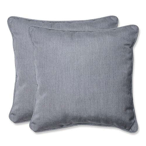 Pillow Perfect Canvas Granite Outdoor 18.5-Inch Throw Pillow with Sunbrella Fabric, Set of Two