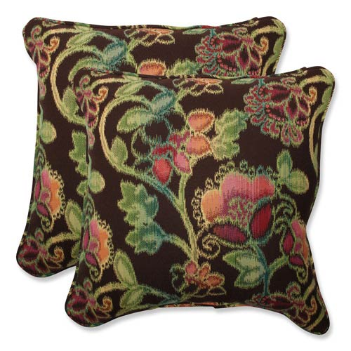 Vagabond Brown and Multicolored Square 18.5-Inch Throw Pillow with Sunbrella Fabric, Set of 2