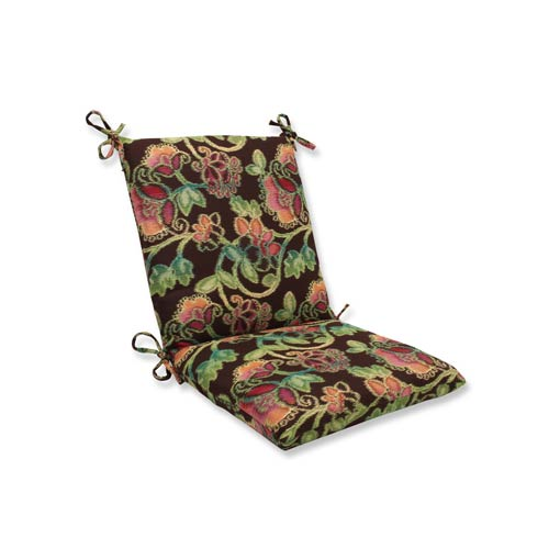 Pillow Perfect Vagabond Brown and Multicolored Squared Corner Chair Cushion with Sunbrella Fabric