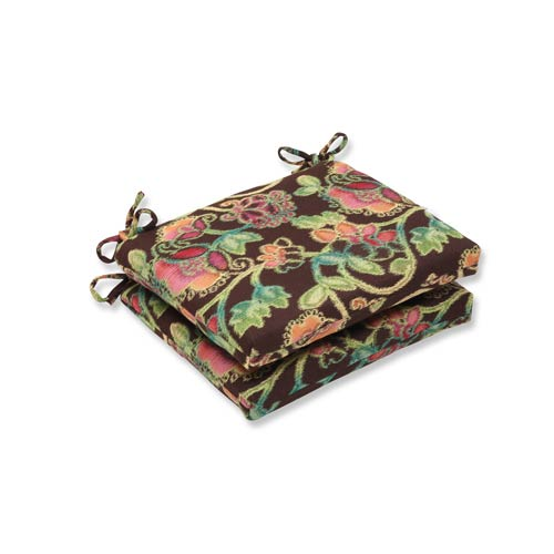 Pillow Perfect Vagabond Brown and Multicolored Squared Corner Seat Cushion with Sunbrella Fabric, Set of 2