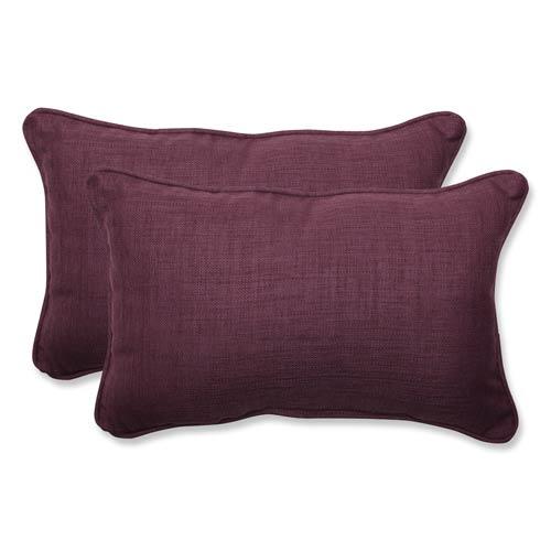 Pillow Perfect Rave Vineyard Purple Outdoor Rectangular Throw Pillow, Set of 2
