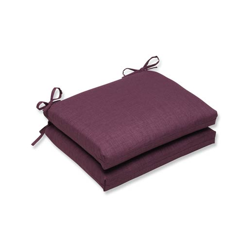 Pillow Perfect Rave Vineyard Purple Outdoor Squared Corner Seat Cushion, Set of 2
