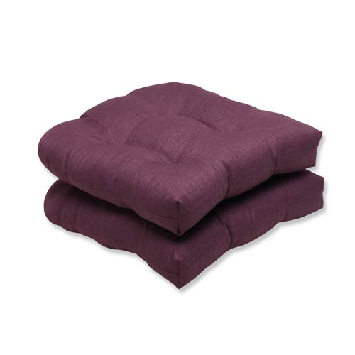 Pillow Perfect Rave Vineyard Purple Outdoor Wicker Seat Cushion, Set of 2