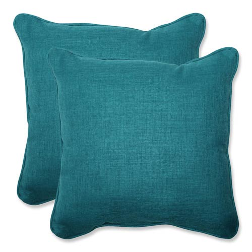 Rave Teal Green Outdoor Square 18.5-Inch Throw Pillow, Set of 2