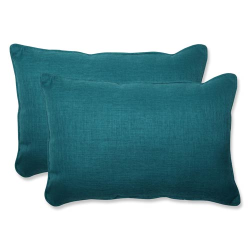 Rave Teal Green Outdoor Over-sized Rectangular Throw Pillow, Set of 2