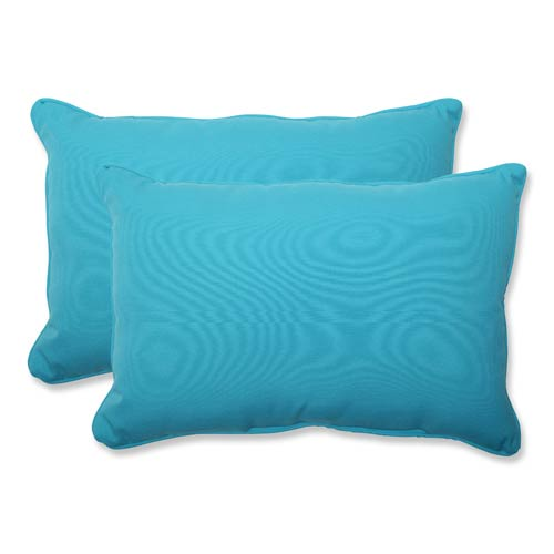 Pillow Perfect Veranda Blue Outdoor Over-sized Rectangular Throw Pillow, Set of 2