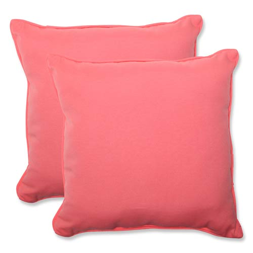 Pillow Perfect Fresco Pink Outdoor Square 18.5-Inch Throw Pillow, Set of 2
