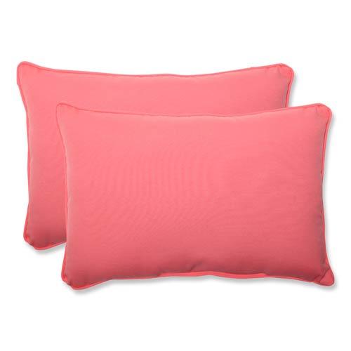 Fresco Pink Outdoor Over-sized Rectangular Throw Pillow, Set of 2