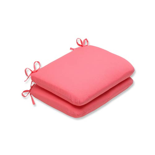 Pillow Perfect Fresco Pink Outdoor Rounded Corner Seat Cushion, Set of 2