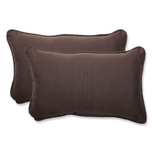 Pillow Perfect Forsyth Brown Outdoor Rectangular Throw Pillow, Set of 2