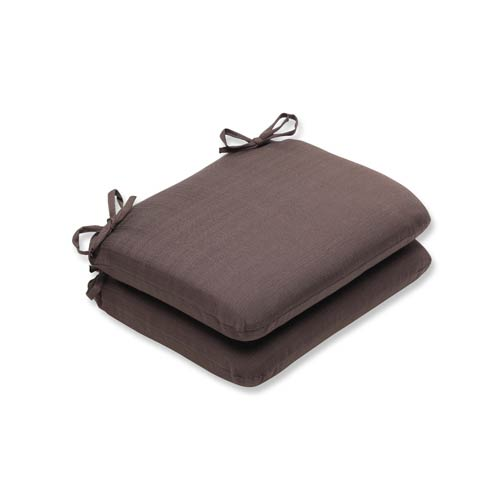 Pillow Perfect Forsyth Brown Outdoor Rounded Corner Seat Cushion, Set of 2