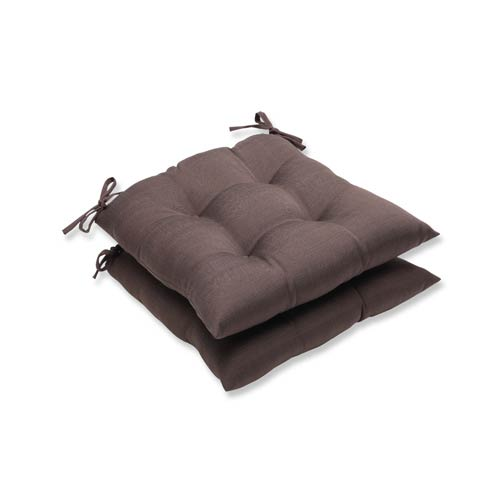 Pillow Perfect Forsyth Brown Outdoor Wrought Iron Seat Cushion, Set of 2