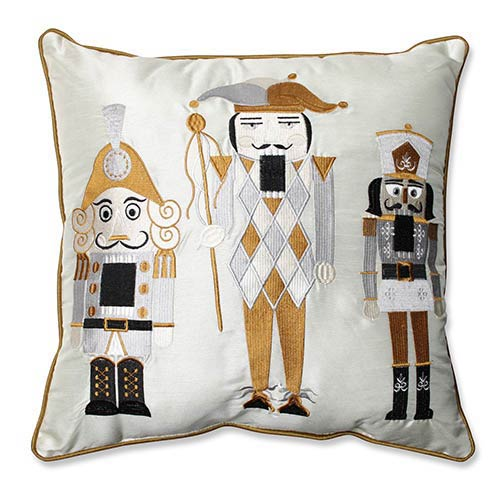 White and Gold 16.5-Inch Holiday Embroidered Nutcrackers Throw Pillow