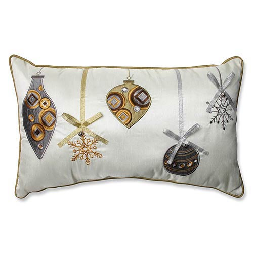 White and Gold Holiday Ornaments Rectangular Throw Pillow