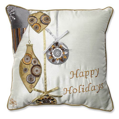 White and Gold 16.5-Inch Holiday Ornaments Throw Pillow