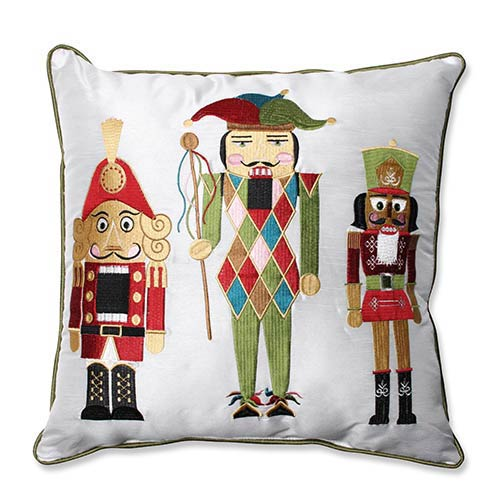 White and Green 16.5-Inch Holiday Embroidered Nutcrackers Throw Pillow