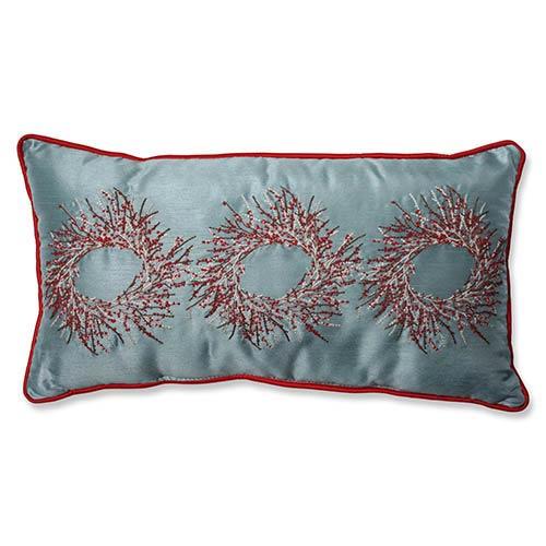 Blue Christmas Wreath Rectangular Throw Pillow