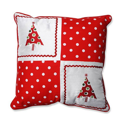Pillow Perfect Red and White 16.5-Inch Christmas Trees Throw Pillow