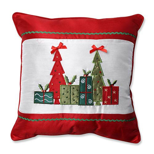 Pillow Perfect Red and White 16.5-Inch Christmas Trees and Presents Throw Pillow