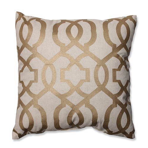 Beige and Gold 16.5-Inch Geometric Throw Pillow