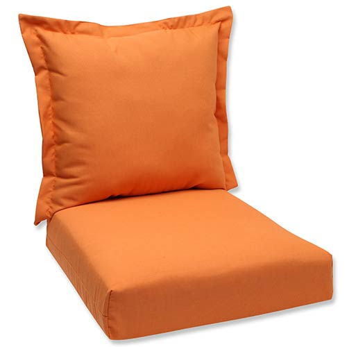 Pillow Perfect Canvas Tangerine Outdoor Deep Seating Cushion and Back Pillow with Sunbrella Fabric