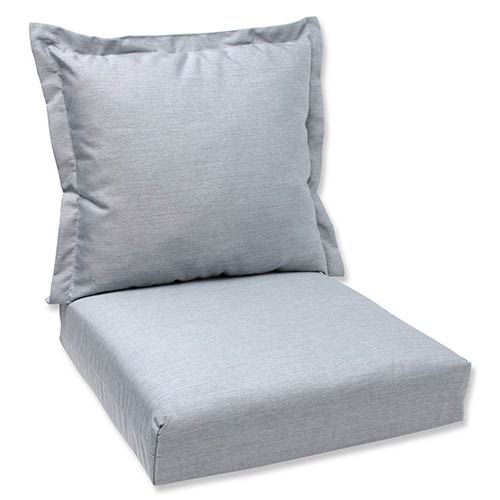 Pillow Perfect Canvas Granite Outdoor Deep Seating Cushion and Back Pillow with Sunbrella Fabric
