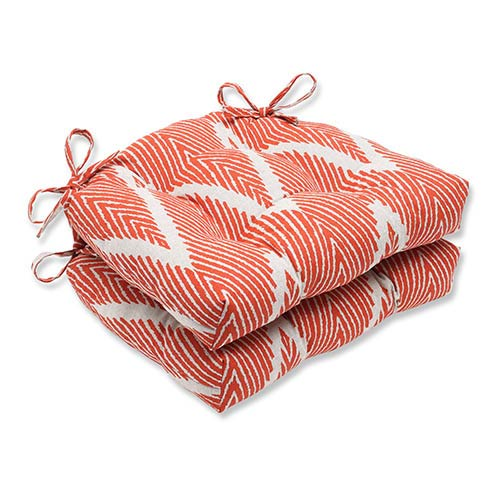 Bali Mandarin Orange Reversible Chair Pad, Set of 2