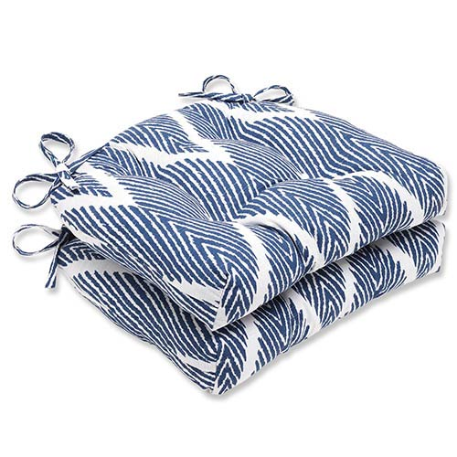 Bali Navy Blue Reversible Chair Pad, Set of 2