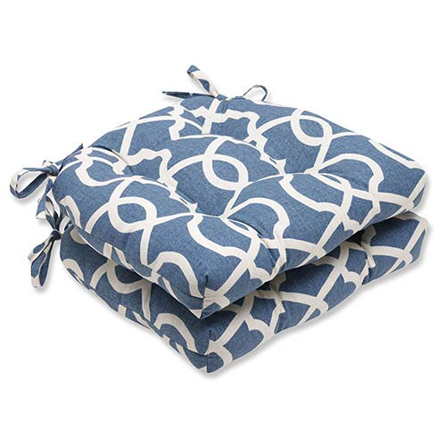 Lattice Damask Yacht Blue Reversible Chair Pad, Set of 2