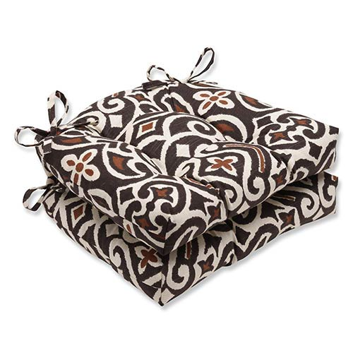 New Damask Terrain Brown Reversible Chair Pad, Set of 2