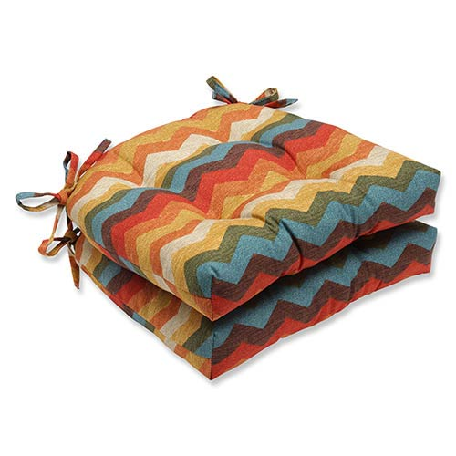 Pillow Perfect Panama Wave Adobe Multicolor Reversible Chair Pad, Set of 2