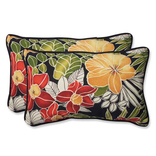 Pillow Perfect Clemens Noir Rectangular Outdoor Throw Pillow, Set of 2