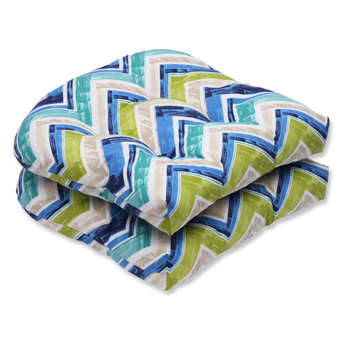Pillow Perfect Marquesa Marine Wicker Outdoor Seat Cushion, Set of 2