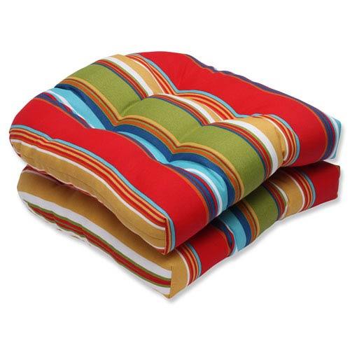 Pillow Perfect Westport Garden Wicker Outdoor Seat Cushion, Set of 2