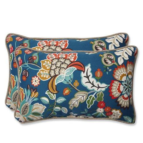 Pillow Perfect Telfair Peacock Rectangular Outdoor Throw Pillow, Set of 2
