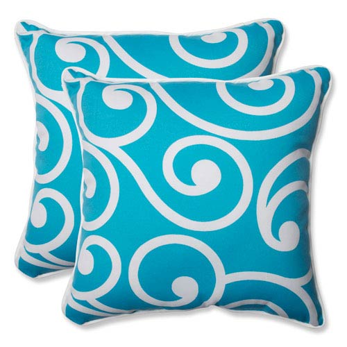 Pillow Perfect Best Turquoise 18.5-Inch Outdoor Throw Pillow, Set of 2