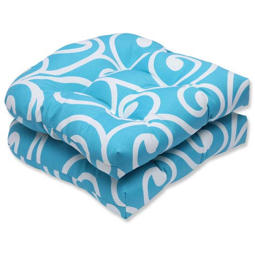 Pillow Perfect Best Turquoise Wicker Outdoor Seat Cushion, Set of 2