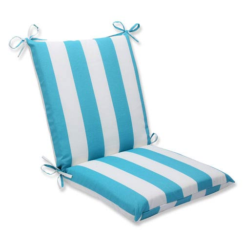 Pillow Perfect Cabana Stripe Turquoise Squared Corners Outdoor Chair Cushion Cushion