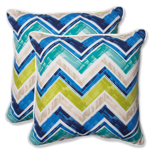 Pillow Perfect Marquesa Marine 18.5-inch Outdoor Throw Pillow, Set of 2