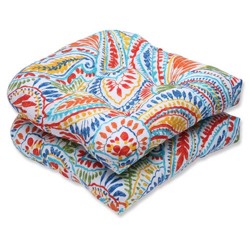 Ummi Multicolor Wicker Outdoor Seat Cushion, Set Of 2