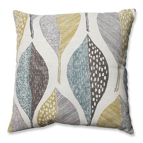 Woodblock Leaf Rain 16.5-Inch Throw Pillow