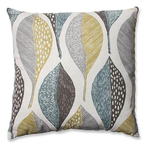 Woodblock Leaf Rain 18-Inch Throw Pillow