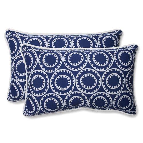 Pillow Perfect Ring a Bell Navy Rectangular Outdoor Throw Pillow, Set of 2