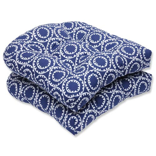 Pillow Perfect Ring a Bell Navy Wicker Outdoor Seat Cushion, Set of 2