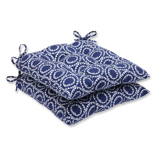 Pillow Perfect Ring a Bell Navy Wrought Iron Outdoor Seat Cushion, Set of 2