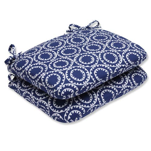 Pillow Perfect Ring a Bell Navy Rounded Corners Outdoor Seat Cushion, Set of 2