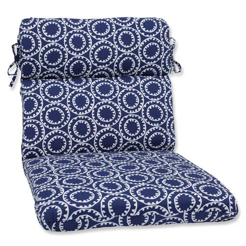 Pillow Perfect Ring a Bell Navy Rounded Corners Outdoor Chair Cushion Cushion