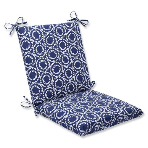 Pillow Perfect Ring A Bell Navy Squared Corners Outdoor Chair Cushion Cushion