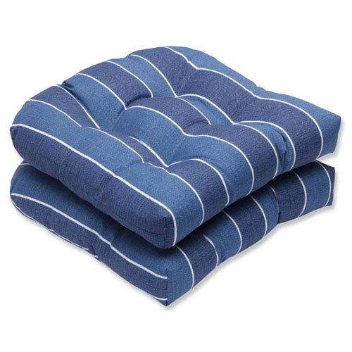 Wickenburg Indigo Wicker Outdoor Seat Cushion, Set of 2