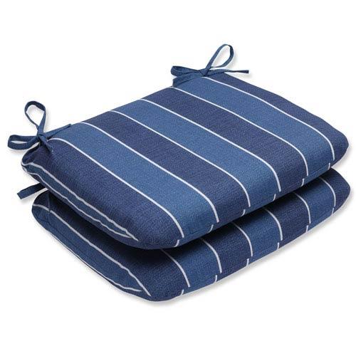 Pillow Perfect Wickenburg Indigo Rounded Corners Outdoor Seat Cushion, Set of 2